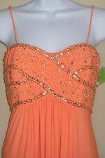 NWT Genuine NV COUTURE orange mango beaded spaghetti strap long dress, size 2