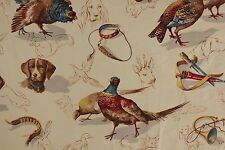 Vintage Fabric Hunting Marignan 1950's 1960's RARE dog bird material