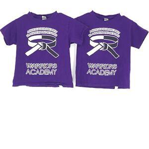 Warriors Academy T-Shirt Unisex XS Purple Karate Black Belt Boys Girl Gildan 2PK