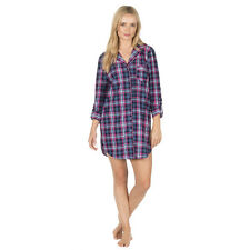 LADIES BOYFRIEND CHECK NIGHTSHIRT COTTON FLANNELETTE BUTTON UP WINTER NIGHTIE