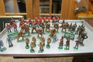 (50)+LOT VINTAGE LEAD MILITARY SOLDIERS BARCLAY, MANOIL, BRITAINS, ETC.