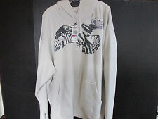 NWT Chaps Graphics Hooded Sweatshirt, Size XXL, Off White, Gray Graphics
