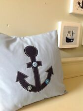 NURSERY ANCHOR NAUTICAL HANDMADE CUSHION navy blue boy children buttons baby