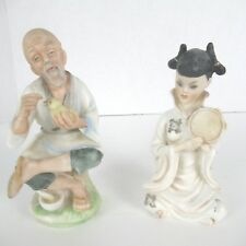 Vtg 2 NAPCO Japan Hand Painted Ceramic Figurines Asian Old Man Chick Girl