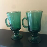 Libbey Green footed mugs Vintage Juniper Irish coffee tea gold rim set of 2