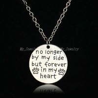 No Longer By My Side But Forever In My Heart Pendant Necklace Family Gift Silver