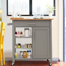 Modern Wooden Kitchen Trolley Rolling Cart w/Door Drawer Shelves For Kitchen