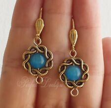 Blue cats eye earrings round gold plated leverbacks gemstone jewelry