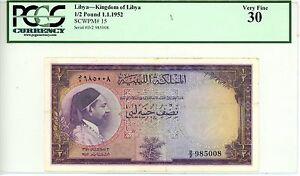 Libya ... P-15 … 1/2 Pound … 1952 … *VF+* ... PCGS 30