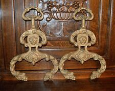 Antique Pair French Fireplace Fire Dogs Andirons Fronts Bronze Lion Heads