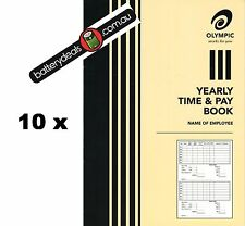 10 x Olympic Yearly Time and pay wages book A5 32 pages 210 x 148 140583 Wages