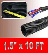 "1.5"" x 10' BLACK SPLIT LOOM TUBING Wire & Hose Cover Polyethylene Audio Video"