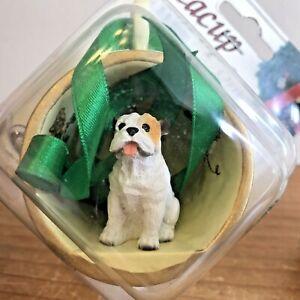 White Tan Bulldog Christmas Ornament Teacup Dog New Gift