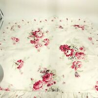 "SHABBY CHIC FULL RUFFLED BEDSKIRT DUST RUFFLE 15/"" DROP PREWASHED PINK 50//50"