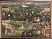 Indian Hand Painted Mughal Mogul Fine Art Hunting Scene Miniature Art Syn. Ivory