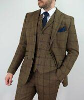 Homme Carreaux Marron Tweed Veste ou Gilet Pantalon 3 Pièce Costume par Cavani