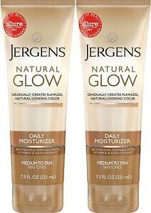 Jergens Natural Glow Moisturizer Medium To Tan Tanner  7.5 oz  each  (2 Pack)