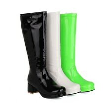 Women's Knee-high Boots Block Mid Heels Patent Leather Side Zip Round Toe Shoes