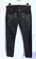 THE KOOPLES Gray Denim Jeans Skull Rivets and Embroidery Very Nice Size 26