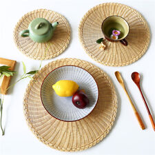 Rattan Weave Round Oval Placemat Dining Table Heat Insulation Mat Pad  LI