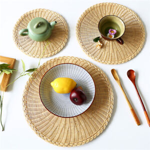 Placemats Woven Fabric Round Table Mats Dining Room Dish Cup Plate Pad S