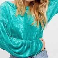 FREE PEOPLE Dolman Sleeve Crushed Velvet Sea Green MILAN Layering Top Size S NEW