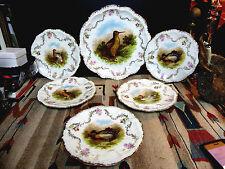 PM Bavaria Moschendorf Game Bird Serving Plates And Platter 6 Pieces 1900's