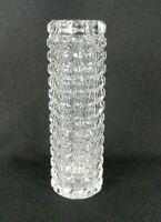"Vintage Bud Vase Fostoria American Cubist Clear Glass Heavy Cylinder 7-1/4"" H"