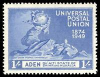 Aden - Qu'aiti 1949 UPU 1r on 1s blue SURCHARGE OMITTED error superb MNH. SG 19a