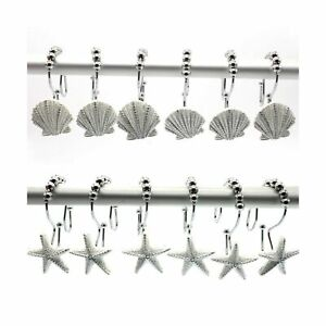 FINROS 12 PCS Double-Hook Stainless Steel Shower Rings Decorative Home Bathro...