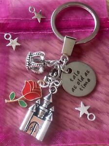 BELLE Beauty And The Beast Themed DISNEY PRINCESS Rose Charm KEYRING Keychain