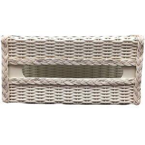 Harvey White Wicker Tissue Box Cover Vtg Kleenex Holder Braided Trim Basketweave