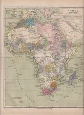c. 1890 AFRICA POLITICAL OVERVIEW OF 1880? Antique Map