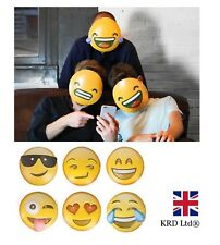 6 x EMOJI MASKS Adults Kids Smiley Icon Face Mask Party Game Fun Photo Shoot UK