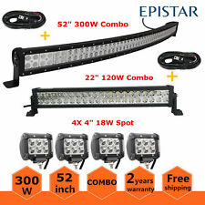 """52""""inch 300W Curved LED Light Bar Combo+22""""+4X 18W Offroad Truck ATV 50/54+Wires"""