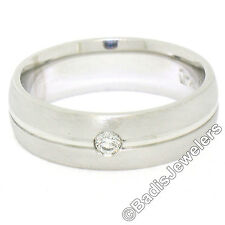 NEW Mens Brushed Solid Platinum F VS1 Diamond Solitaire Wedding Band Ring Sz 8.5