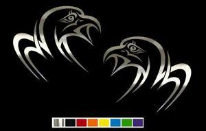 (2) Tribal Eagle Falcon Bird Vinyl Decal Set CUSTOM SIZE COLOR for CARS, TRUCKS