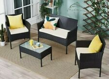 4 Pcs Rattan Garden Furniture Set Chair Sofa Table Outdoor Patio Conservatory