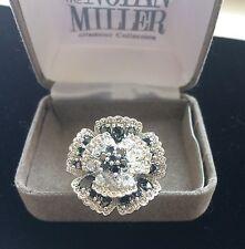 "Beautiful Nolan Miller 'My Muse Rose Ring"" Clear & Black Chrystals – Size 9 -NIB"