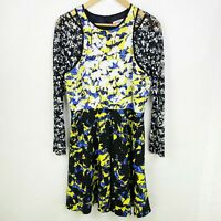 Peter Pilotto Target Floral Print Yellow Blue Black Crepe & Lace Dress Size 10