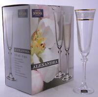 Set de 6 Verres à Champagne 190ml Coffret Cadeau Flûtes à Champagne Décorés D'or