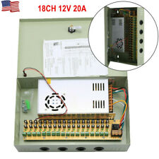 18CH Security Camera Power Supply Box DC 12V 20A Distribution for CCTV System