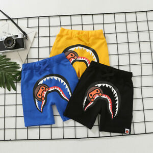 New Kids Boy Girl Cool Classic Black Blue Shark Summer Short Pants Hip Hop Pant
