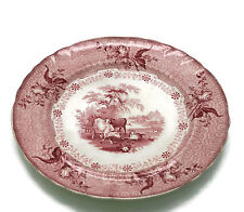 Antique 19th C Staffordshire Red Transferware Park Scenery Plate Cows Phillips