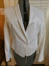 Anne Klein white cotton short cropped fitted jacket size14 long sleeves preowned