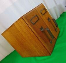 ANTIQUE 2 DRAWER CARD CATALOG TABLE TOP FILE CABINET BOX  TIGER OAK