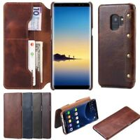 Genuine Real Cowhide Leather wallet Card Cover Case for Samsung Galaxy Note 9/S8