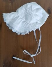 New Handmade White Floral with Extended Neck Baby Bonnet
