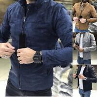 Men's Winter Collared Slim Coat Casual Long Sleeve Plain Full Zip Up Jacket 03