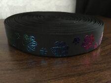 1m Black With Glitter Dog Paw Print Collar Lead Printed Grosgrain Ribbon, 22mm